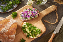Sourdough Bread With Wild Edible Spring Plants - Young Goutweed Leaves, Purple Dead-nettle And Lungwort Flowers