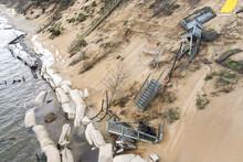 Aerial View Of  Damage On Eroding Dune On Lake Michigan