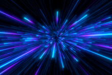 Abstract Background In Blue And Purple Neon Glow Colors. Speed Of Light In Galaxy. Explosion In Universe. Cosmic Background For Event, Party, Carnival, Celebration, Anniversary Or Other. 3D Rendering.