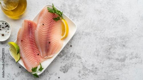Fotografie, Obraz Flat lay delicious seafood arrangement