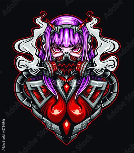 Fotografie, Tablou girl mask geisha vector illustration