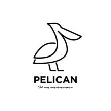 Black Pelican Line Logo Vector Icon Illustration Isolated Design