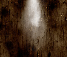 Goth Dark Brown Horror Scratched And Pilled Wall Illuminated With Grey Smoke, Dark Grunge Halloween Wall With Light And Mist