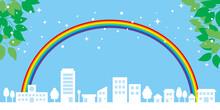 街並みと虹と青空