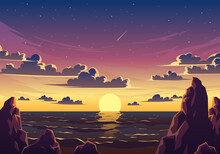 Sunset Beach Landscape Illustration. Beautiful Sunset Beach With Rocks, Shiny Waves And Falling Stars Vector Landscape. Good For Background, Wallpaper, Wall Decor, Poster, Banner, Art Print, Etc.