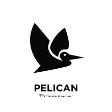 Black Pelican Logo Vector Icon Illustration Isolated Design