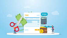 Tax Deduction Or Reduction Concept With People Cutting Money On Taxes Document With Scissors With Modern Flat Style