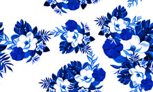 White Seamless Exotic. Blue Pattern Textile. Gray Tropical Plant. Indigo Floral Leaf. Navy Flora Leaves. Cobalt Watercolor Texture. Decoration Leaf.