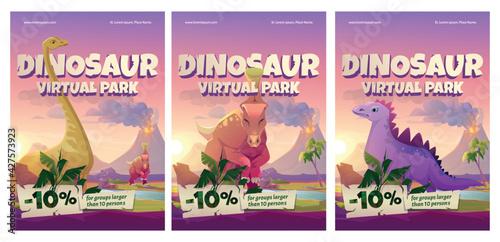 Fototapeta Dinosaur virtual park cartoon posters, historical online museum visit promo with discount for large groups. Educational prehistory portal, paleontology studying, exhibition service, vector flyers set obraz