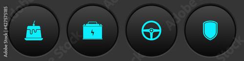 Fototapeta Set Pudding custard, Car battery, Steering wheel and Shield icon