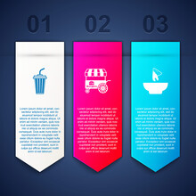Set Glass With Water, Fast Street Food Cart And Nachos In Plate. Business Infographic Template. Vector
