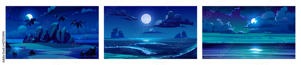 Fototapeta Sea landscape with moon, stars and clouds in dark sky at night. Vector cartoon backgrounds of seascape with tropical island with palm trees, sand beach, ocean waves and coastline on horizon