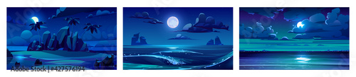 Photographie Sea landscape with moon, stars and clouds in dark sky at night