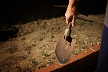Scary Person Carrying Shovel At Night After Burying Something
