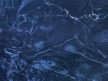 Texture Of Navy Blue Marble With Lines Of Pattern, Macro Background. Dark Azure Stone Backdrop From Mineral Tile