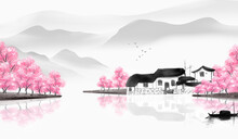 Chinese Style Taoyuan Ink Landscape Painting