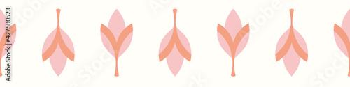 Floral border repeat pattern, pretty vector seamless banner illustration of fuchsia flowers Fototapet