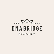 DNA Bridge Hipster Vintage Logo Vector Icon Illustration