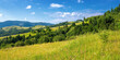 canvas print picture rural landscape in summer. beautiful nature scenery with fields on the hills rolling in to the distant valley. wonderful sunny weather with fluffy clouds on the sky