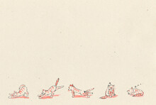 Hand Drawn Illustration. The Cat Does Yoga In The Morning. Ginger Tabby Cat. Five Yoga Poses.