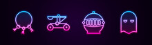 Set Line Old Keys, Catapult Shooting Stones, Medieval Iron Helmet And Executioner Mask. Glowing Neon Icon. Vector