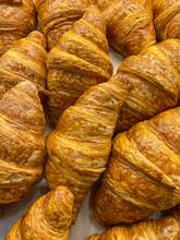Full Frame Photo Of Fresh-baked French Croissants