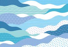 ポップな手描き模様の波柄青