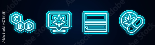 Fototapeta Set line Cannabis molecule, Location and cannabis, Rolling paper and Herbal ecstasy tablets. Glowing neon icon. Vector obraz