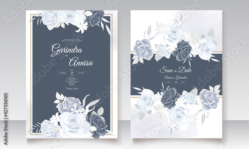 Canvas Print Elegant wedding invitation card with navy blue beautiful floral and leaves temp