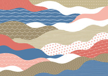 ポップな手描き模様の波柄赤と青
