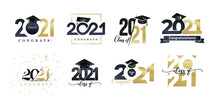 Class Of 2021 Badges Big Set. Congrats Graduates Design Concept. Gold And Black Graduation Logo Set. Template For Web, Site, Cards, Print, Invitations, Seal Or Stamp. Vector Grad Labels Collection.