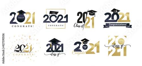 Fototapeta Class of 2021 badges big set. Congrats graduates design concept. Gold and black graduation logo set. Template for web, site, cards, print, invitations, seal or stamp. Vector grad labels collection. obraz