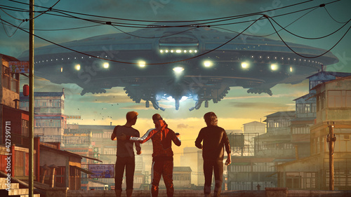Fotografering Giant Ufo floating on an Asian city slum with three guys talking about alien inv