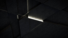 Dark, Concrete Wall Background, With Integrated White Light Strips. Geometric Tech Wallpaper With Illuminated, Futuristic, 3D Blocks. 3D Render