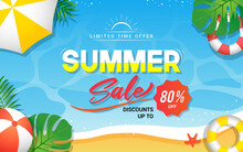 Summer Sale Banner Vector Illustration. Summer Beach Background With Swim Rings And Sun Umbrella