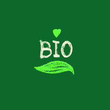 Vector Bio Symbol In Trendy Hand-drawn Style. Microgreens Sign, Eco Products, Emblem Of Natural Organic Cosmetics Packaging Design. Biological Icon. Badge Of Healthy Eating. Stamp Healthy Food.