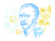 Vector Illustration Of A Portrait Of Vincent Van Gogh On A Background Of Sunflowers And Clouds.