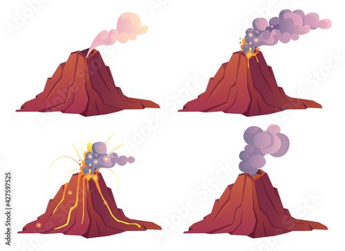Fototapeta Volcanic eruption stages