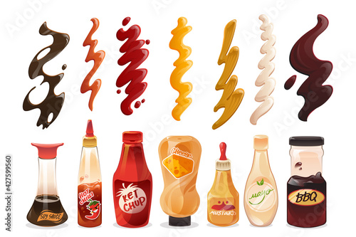 Set of different sauces in bottles and strokes top view Fotobehang