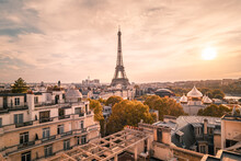 Sunset View To Eiffel Tower In Paris, France.