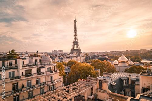 Fotografie, Obraz Sunset view to Eiffel tower in Paris, France.