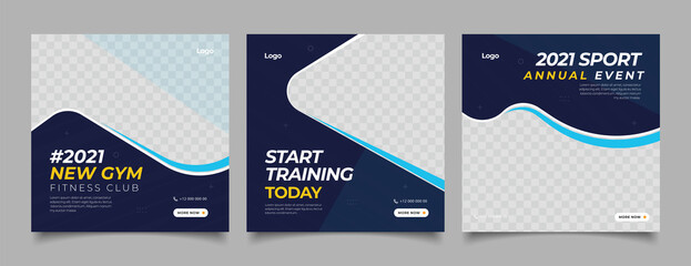 Sport Gym and Fitness Promotion Post and Story Social Media Template