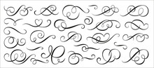 Calligraphic Swirl Ornament, Line Style Flourishes Set. Filigree Vignette Ornamental Curls. Decorative Design Elements For Menu, Certificate, Diploma, Wedding Card, Invatation, Outline Text Divider