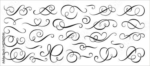 Canvas Print Calligraphic swirl ornament, line style flourishes set