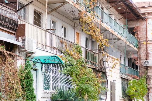 Canvas Print Shared balconies in Sevastopol courtyards