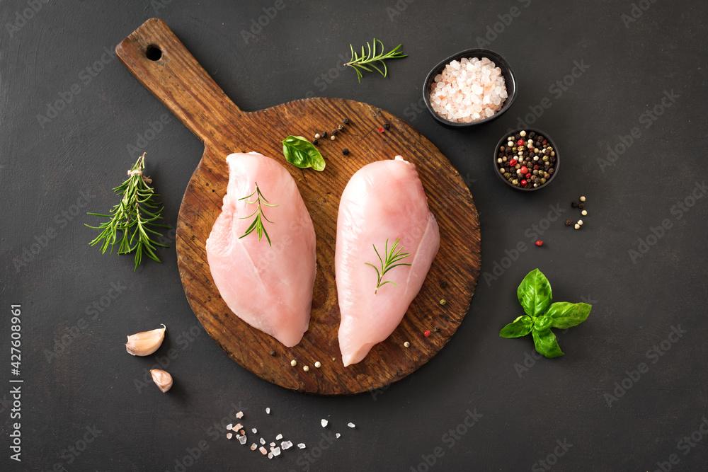 Fototapeta Raw chicken breast fillet