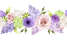Vector Horizontal Seamless Border With Pink, Purple And White Roses, Lisianthus Flowers And Lilac Flowers.