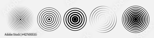 Black rings sound waves set. Circle element. Radar and radio signal. Vector sound abstraction wave. Circle ripples.