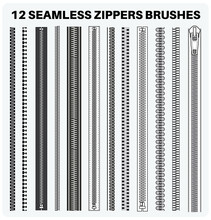 Seamless Zippers With Puller Flat Sketch Vector Illustrator Brush Set, Different Types Of Zip For Fasteners, Dresses Garments, Bags, Fashion Illustration, Clothing And Accessories