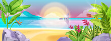 Beach Summer Vector Landscape, Sea Background, Tropical Island Shore, Seaside Sand, Ocean, Sunrise. Paradise Nature, Exotic Jungle View, Surf, Flowers, Clouds, Banana Leaf. Summer Beach Tourism Banner